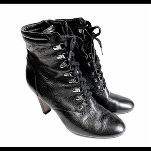 Halogen Black Leather Lace Up Heeled Boots